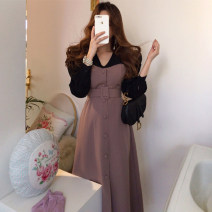 Dress Autumn 2020 Picture color S,M,L Mid length dress Fake two pieces Long sleeves commute High waist Solid color Single breasted other other Others 18-24 years old Type H Other / other Retro Lace up, stitching 71% (inclusive) - 80% (inclusive) other