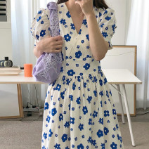 Dress Spring 2020 White, yellow S, M Mid length dress singleton  Short sleeve commute V-neck High waist Decor Socket A-line skirt puff sleeve Oblique shoulder 18-24 years old Type A Other / other Korean version Frenulum 31% (inclusive) - 50% (inclusive) other polyester fiber