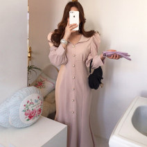 Dress Spring 2020 Apricot, black S,M,L Mid length dress singleton  Long sleeves commute V-neck High waist Solid color Single breasted other puff sleeve Others 18-24 years old 81% (inclusive) - 90% (inclusive) other cotton