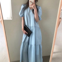 Dress Summer 2021 White, blue, black Average size longuette singleton  Short sleeve commute V-neck Loose waist Socket puff sleeve Others 18-24 years old Other / other Korean version 81% (inclusive) - 90% (inclusive) brocade cotton