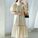 Dress Summer 2021 Apricot, white Average size longuette singleton  elbow sleeve commute Crew neck High waist other Single breasted other bishop sleeve 18-24 years old Other / other Hollow, lace 31% (inclusive) - 50% (inclusive) other cotton