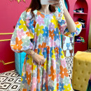Dress Summer 2021 White background, yellow background Average size longuette singleton  three quarter sleeve commute Crew neck High waist Big flower zipper Princess Dress puff sleeve Others 18-24 years old Type A Other / other Korean version other other