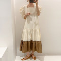 Dress Summer 2021 Apricot, blue Average size longuette singleton  Short sleeve commute square neck puff sleeve Others 18-24 years old Other / other Korean version