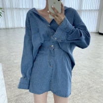 Fashion suit Spring 2021 Average size Denim shirt, denim skirt 18-25 years old Other / other