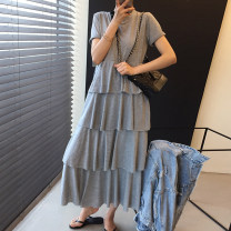 Dress Summer 2021 Gray, black Average size longuette singleton  Short sleeve Crew neck High waist Solid color other Cake skirt routine 18-24 years old Other / other