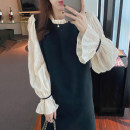 Dress Spring 2021 Apricot, black Average size Middle-skirt singleton  Long sleeves commute stand collar Loose waist Socket other other Others 18-24 years old Other / other Korean version