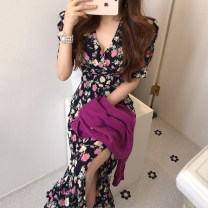 Dress Summer 2021 black S,M,L longuette singleton  Short sleeve commute V-neck Elastic waist Decor routine Others 18-24 years old Other / other Korean version