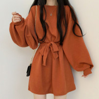 Dress Spring 2021 Black, orange, coffee Average size Short skirt singleton  Long sleeves commute Crew neck Solid color puff sleeve 18-24 years old Other / other Korean version 51% (inclusive) - 70% (inclusive)