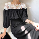 Dress Summer 2021 Black, mint S, M longuette singleton  three quarter sleeve commute square neck High waist Solid color other other puff sleeve 18-24 years old Other / other Korean version