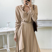 Dress Winter 2020 khaki Average size longuette singleton  Long sleeves commute Polo collar High waist Solid color Single breasted A-line skirt routine 18-24 years old Type A Other / other Korean version 51% (inclusive) - 70% (inclusive)