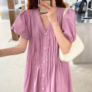 Dress Summer 2020 White, black, pink Average size longuette singleton  Short sleeve commute V-neck High waist Solid color puff sleeve 18-24 years old Other / other Korean version