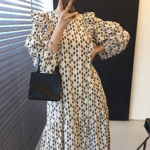 Dress Autumn 2020 White, black Average size longuette singleton  Long sleeves commute Crew neck High waist Dot Socket routine Others 18-24 years old Other / other Korean version