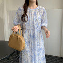 Dress Summer 2021 Light blue skirt with sling , Black skirt with sling Average size longuette Two piece set elbow sleeve Crew neck High waist other other other puff sleeve 18-24 years old Other / other