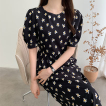 Dress Summer 2021 Picture color S, M Mid length dress singleton  Short sleeve commute Crew neck High waist Decor Socket Pencil skirt puff sleeve Others 18-24 years old Type A Other / other Korean version 51% (inclusive) - 70% (inclusive) brocade polyester fiber