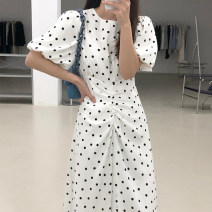 Dress Summer 2021 White, black S,M,L Mid length dress singleton  Short sleeve commute Crew neck High waist Dot other A-line skirt bishop sleeve 18-24 years old Type A Other / other Korean version Frenulum 31% (inclusive) - 50% (inclusive) other polyester fiber
