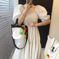 Dress Summer 2021 Light brown, off white Average size longuette singleton  Short sleeve commute square neck Solid color puff sleeve Others 18-24 years old Other / other Korean version 31% (inclusive) - 50% (inclusive) brocade cotton
