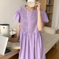 Dress Summer 2021 White, purple Average size Mid length dress singleton  Short sleeve Crew neck High waist Solid color other other Lotus leaf sleeve 18-24 years old Other / other