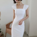 Dress Summer 2021 white S, M Mid length dress singleton  Long sleeves square neck High waist Solid color other other Flying sleeve 18-24 years old Other / other Splicing