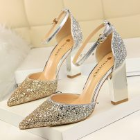 Low top shoes 34 35 36 37 38 39 40 BIGTREE Gold Silver White Gold Silver Black champagne rose red Sharp point Thick heel Sequin cloth Shallow mouth Super high heel (over 8cm) PU Summer of 2018 Flat buckle Korean version Adhesive shoes Youth (18-40 years old) Solid color rubber Single shoes PU banquet