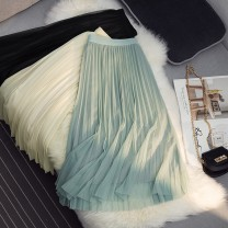 skirt Summer 2021 Average size Green, gray, brown, black, apricot Mid length dress Versatile High waist Pleated skirt Solid color Type A 25-29 years old 71% (inclusive) - 80% (inclusive) other Power society other Nail bead, fold, irregular