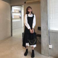 Fashion suit Autumn 2020 Average size White shirt, black suspender skirt