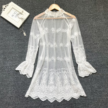 Dress Autumn of 2019 White (Ruffle collar), black (Ruffle collar) S,M,L,XL Middle-skirt singleton  Long sleeves commute Half high collar Loose waist Solid color A button Ruffle Skirt Petal sleeve Others Type H Korean version 91% (inclusive) - 95% (inclusive) Lace cotton