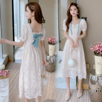 Dress Summer 2021 Apricot white S,M,L,XL Miniskirt singleton  Short sleeve commute square neck High waist Solid color zipper A-line skirt Others 18-24 years old Yinan / Yinan Retro Bowknot, fold, fungus, lace, three-dimensional decoration, strap, button, zipper, resin fixation 20210403-6 Chiffon