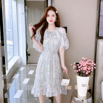 Dress Spring 2021 Picture color S,M,L,XL Mid length dress singleton  Short sleeve commute V-neck High waist Decor Socket Ruffle Skirt other Others 25-29 years old Type A Recalling Nan lady 20210313-6 More than 95% Chiffon polyester fiber