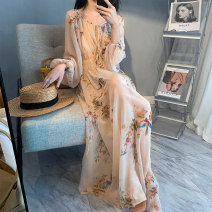 Dress Spring 2021 Rice skin long, red rose, rice skin XS,S,M,L,XL Mid length dress Two piece set Long sleeves Sweet V-neck High waist Broken flowers Socket Big swing puff sleeve camisole Type A Other / other Pleating, pleating, printing, silk like 91% (inclusive) - 95% (inclusive) Chiffon Bohemia