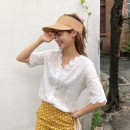 Lace / Chiffon Summer of 2019 White, white vest S,M,L,XL elbow sleeve commute Socket singleton  Straight cylinder V-neck other bishop sleeve 18-24 years old Other / other Korean version 31% (inclusive) - 50% (inclusive)