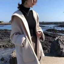 woolen coat Autumn 2020 S,M,L,XL,2XL Apricot, black, white vest other 51% (inclusive) - 70% (inclusive) Medium length Long sleeves commute routine Hood Solid color Cape type Korean version 18-24 years old Imitation fabric