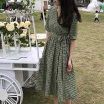 Dress Summer 2020 Green, white vest M,L,XL,2XL longuette singleton  Short sleeve commute V-neck High waist lattice Socket Others Korean version Frenulum