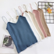 Vest sling Summer of 2019 Khaki, apricot, light blue, gray, white, red, blue, black, light pink, white vest Average size singleton  routine Self cultivation commute camisole Solid color 18-24 years old 31% (inclusive) - 50% (inclusive) Other / other