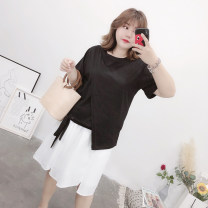 Women's large Summer of 2019 black 3XL,4XL,5XL Two piece set easy moderate Socket Short sleeve Solid color Crew neck Medium length Polyester, cotton Three dimensional cutting Asymmetry Middle-skirt