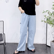 Women's large Spring 2021, summer 2021 blue Large XL, 2XL, 3XL, 4XL Jeans singleton  easy thin Solid color Denim Hand abrasion hole trousers
