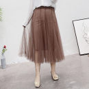 Women's large Autumn of 2019 Large XL, 2XL, 3XL, 4XL skirt singleton  Sweet easy moderate Solid color other Three dimensional cutting