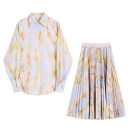 Dress Autumn 2020 Tie dye decor - shirt, tie dye decor - pleated skirt S,M,L longuette singleton  Long sleeves commute V-neck High waist Decor Single breasted A-line skirt routine Type A printing 30% and below polyester fiber