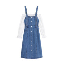 Dress Spring 2021 Denim blue S, M Mid length dress Fake two pieces Long sleeves commute One word collar High waist Solid color Socket A-line skirt routine Others 18-24 years old Type A Korean version Lace 51% (inclusive) - 70% (inclusive) other