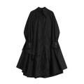 Dress Spring 2021 black S,M,L longuette singleton  Long sleeves street square neck High waist Solid color Single breasted routine Others 18-24 years old