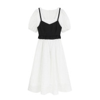 Dress Summer 2021 white S,M,L longuette Two piece set Short sleeve commute square neck High waist Solid color Socket A-line skirt routine Others 18-24 years old Type H Lace 51% (inclusive) - 70% (inclusive) other