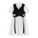Dress Summer 2020 Black and white suit XS,S,M,L Middle-skirt singleton  Long sleeves commute Crew neck middle-waisted Socket other routine Others 18-24 years old Type H Korean version 81% (inclusive) - 90% (inclusive) other cotton