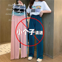 Casual pants XS,S,M,L,XL,2XL Ninth pants Wide leg pants High waist Versatile Thin money 18-24 years old 31% (inclusive) - 50% (inclusive) Other / other Chloroprene fold spandex