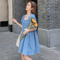 Dress Summer 2021 blue S,M,L,XL,2XL Short skirt singleton  Short sleeve commute square neck Loose waist Solid color Socket A-line skirt puff sleeve Others 25-29 years old Type A Other / other Korean version Splicing, aging, resin fixation, student French retro, princess sleeve Denim other
