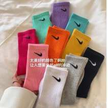 Socks / base socks / silk socks / leg socks lovers Other / other 1 pair routine Middle cylinder motion Solid color cotton pinkycolor