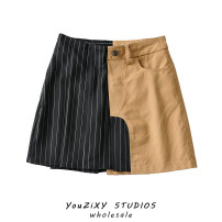 skirt Summer 2021 S,M,L As shown in the figure Short skirt street High waist A-line skirt Asymmetry Europe and America