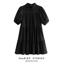 Dress Autumn 2020 black XS,S,M,L Short skirt singleton  Short sleeve street Solid color Single breasted Ruffle Skirt Splicing Europe and America
