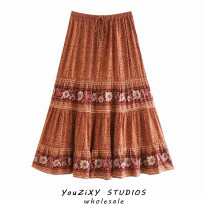 skirt Autumn 2020 S,M,L Mid length dress street High waist A-line skirt Decor Europe and America
