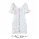 Dress Spring 2021 white S,M,L Short skirt singleton  Short sleeve street square neck Solid color Single breasted other puff sleeve Splicing Europe and America