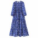 Dress Spring 2020 blue S,M,L longuette singleton  Long sleeves street Crew neck Decor Socket Splicing Europe and America