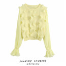 Wool knitwear Autumn 2020 S,M,L yellow Long sleeves singleton  Socket other 71% (inclusive) - 80% (inclusive) Regular routine street easy Low crew neck Solid color Socket Ruffles, stitching Europe and America